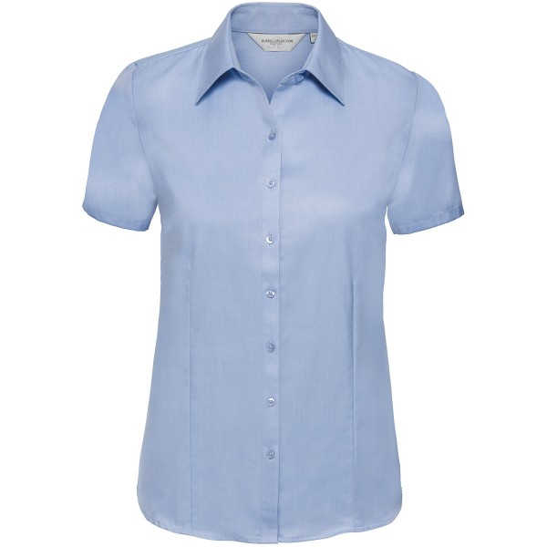 Taillierte Herringbone Bluse – Kurzarm