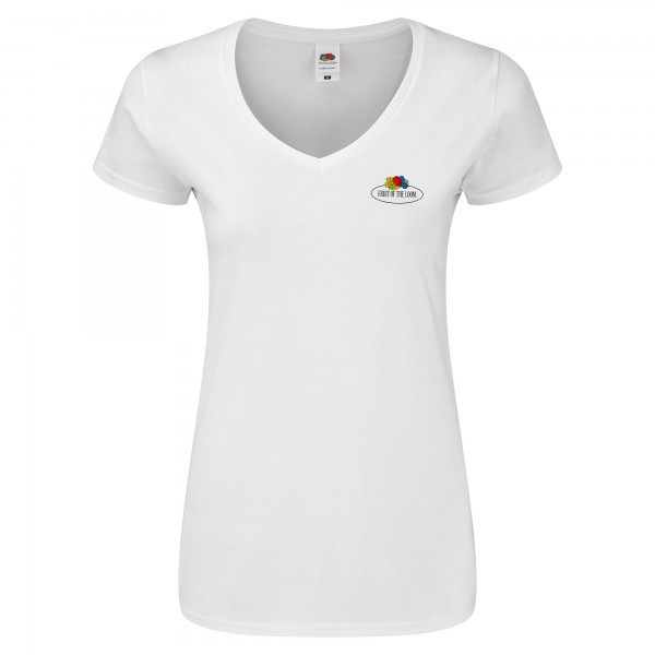 Fruit of the Loom Ladies Iconic V-Neck T-Shirt mit kleinem Vintage-Logo