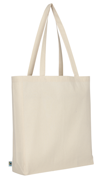 Bag made of Fairtrade-Cotton with two long handles, bottom and side fold