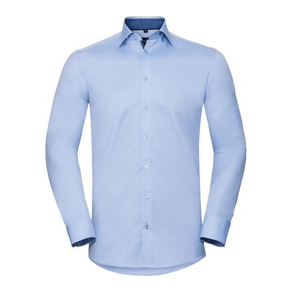 Men's Long Sleeve Tailored Contrast Herringbone Shirt