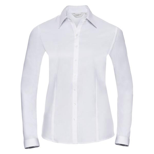 Taillierte Herringbone Bluse – Langarm