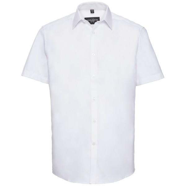 Tailliertes Herringbone Hemd – Kurzarm