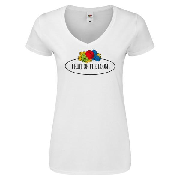 Fruit of the Loom Ladies Iconic V-Neck T-Shirt mit Vintage-Logo