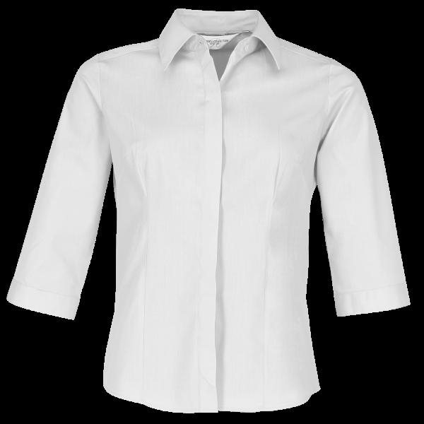 Ladies' 3/4 SleeveFitted Poplin Shirt