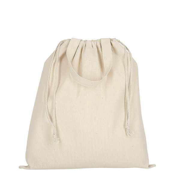 Cotton Bag classic with two short handles and double drawstring