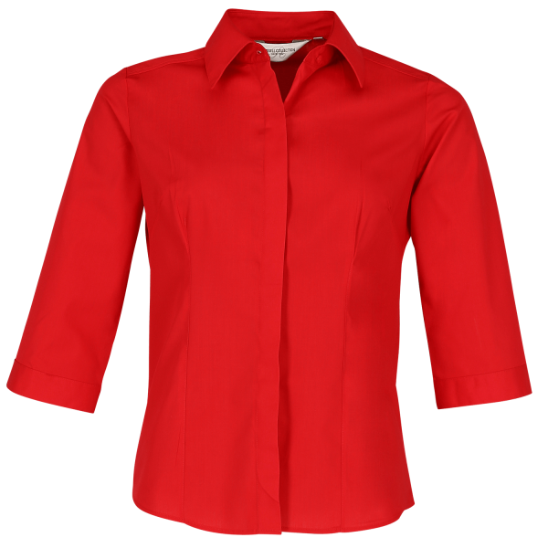 Ladies' 3/4 Sleeve Fitted Poplin Shirt